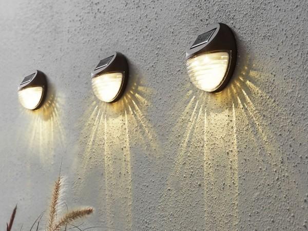 Fassadenleuchte 3er Set | Solar | →11cm x ↑11cm | mit Lichtsensor | zur Wandmontage