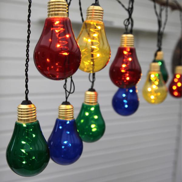 """LED Party Lichterkette """"Glow"""" - 10x5 bunte Birnen - Long-Life Batteriefach 3xD"""
