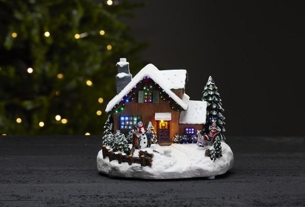 """LED-Weihnachtszene """"Winterville"""" - Haus im Schnee- bunt - 4 bunte LEDs - ↑18,5cm"""