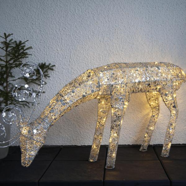 "LED-Rentier mit Pailletten ""Sequini"" - 96 warmweiße LED - H: 55cm - silberne Pailletten - Outdoor"