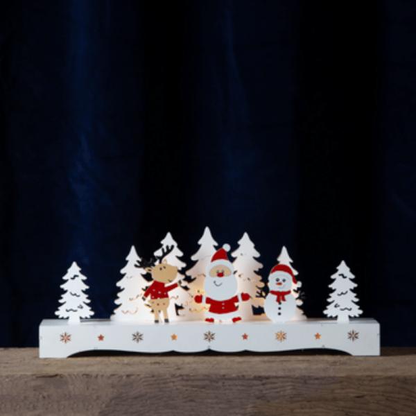 """LED Leuchter aus Holz """"Santa und Freunde"""" - 9 warmweiße LED - 16cm x 43cm - Batteriebetrieb, Timer"""