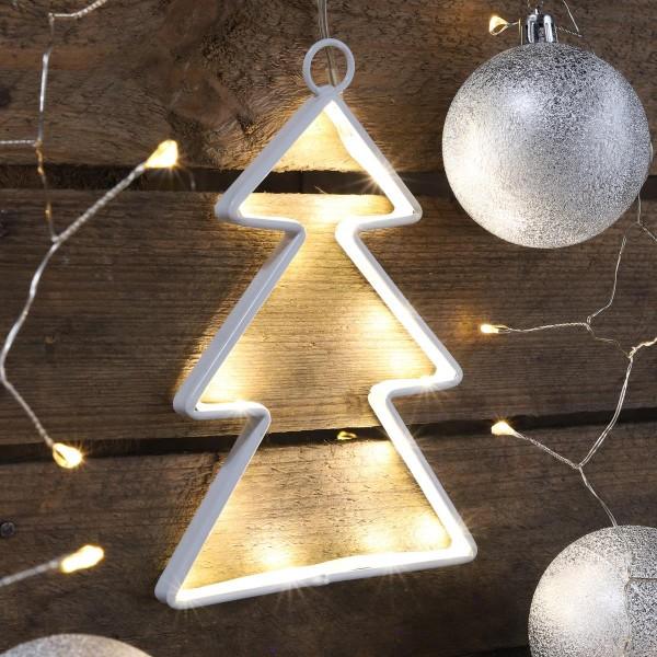 LED Weihnachtsbaum - Fensterleuchter - 15 neutralweiße LED - Batteriebetrieb - Indoor - weiß