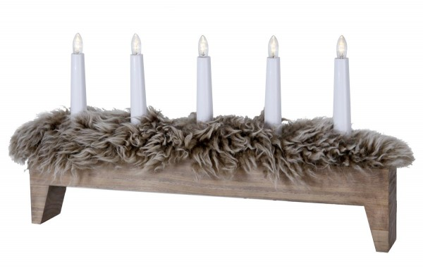 "LED Kerzenleuchter ""Svenljunga"" - 5flammig - warmweiße LEDs - H: 26cm, L: 48cm - braun"