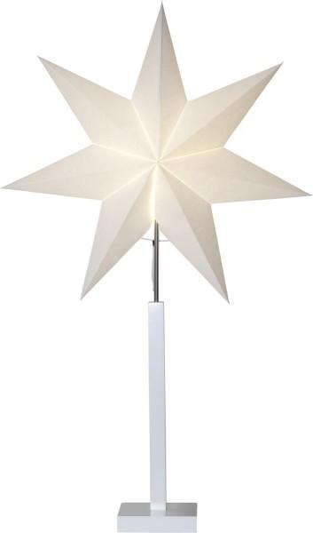 """Papierstern/Stehleuchte """"Karo"""" - stehend - 7-zackig - Ø 60cm, H: 100cm - E14 Fassung - weiß"""