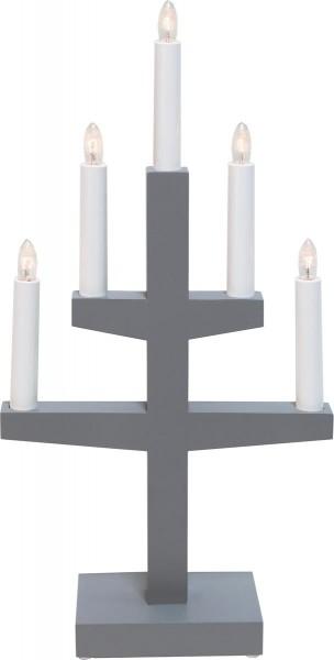"""Kerzenleuchter """"Trapp"""" - 5 Arme - warmweiße Glühlampen - H: 46cm, L: 24cm - Schalter - Grau"""