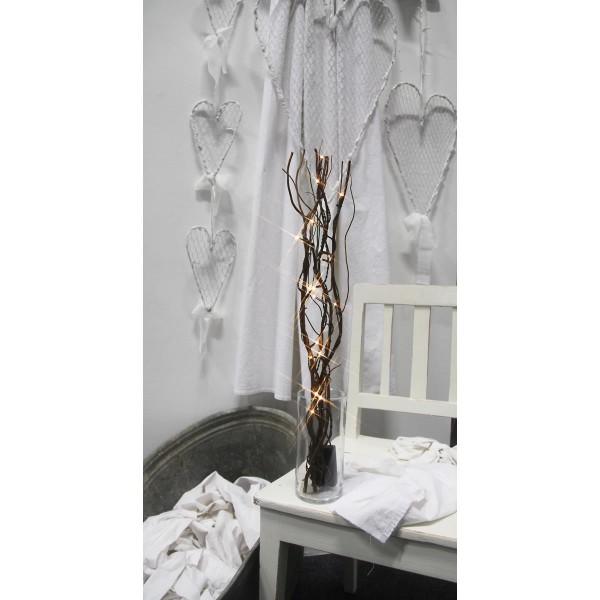 """LED Leuchtzweig """"Willow"""" - braune Weide - 16 warmweiße LED - H: 60cm - Batteriebetrieb - Timer"""