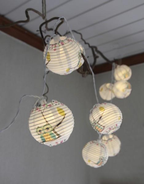 LED-Lichterkette - Ball Line Indoor - Batteriebetrieb - Timer - 2,30m - 10x Warmweiß - Eule