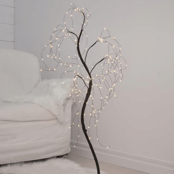 "LED-Dekobaum ""Willy"" - 180 warmweiße LED - biegsame Äste - H: 100cm - inkl. Trafo - schwarz"