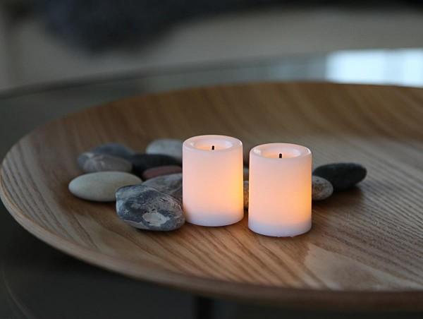 LED-Kerzen - Echtwachs - Waxy - flackernde LED - H: 4,5cm, D: 3,8cm - Batteriebetrieb - 2er Set