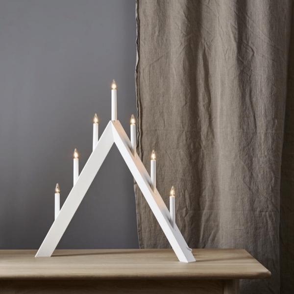 Fensterleuchter ARROW - 7 warmweiße Glühlampen - L: 60cm, H: 64,5cm - Holz - Schalter - Weiß