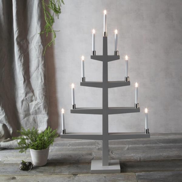 "Kerzenleuchter ""Tall"" - 9 Arme - warmweiße Glühlampen - H: 110cm, L: 61cm - Schalter - Grau/Silber"