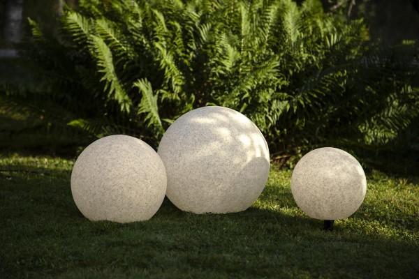Garten-Kugel 40cm - Erdspieß - E27 Fassung max 25W - 5m Zuleitung - IP44 wasserfest Garten