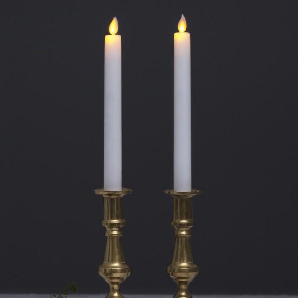"""LED Stabkerze """"M-Twinkle"""" - Echtwachs - mechanische Flamme - H: 24cm - Timer - weiß - 2er Set"""
