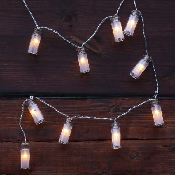 LED Lichterkette Mini Glasflaschen mit Sterneffekt - 10 warmweiße LED - Batterie - L: 0,9m