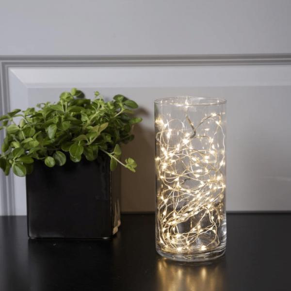 "LED Drahtlichterkette ""Dew Drop"" - 100 weiße LED - silberner Draht - 5m - inkl. Trafo"