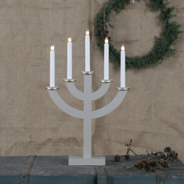 """Kerzenleuchter """"Toarp"""" - 5 Arme - warmweiße Glühlampen - H: 53cm, L: 33cm - Schalter - Grau/Gold"""