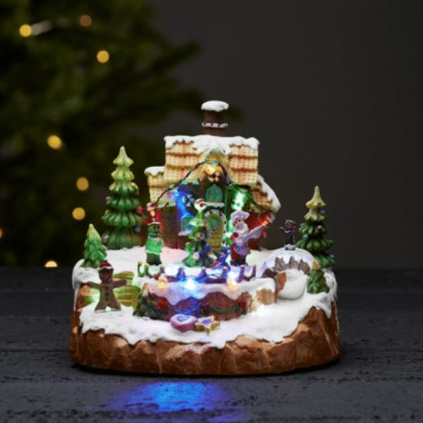 "LED-Weihnachtszene ""Candyville"" - Lebkuchenhaus - 12 bunte LED - H: 18cm - bunt"