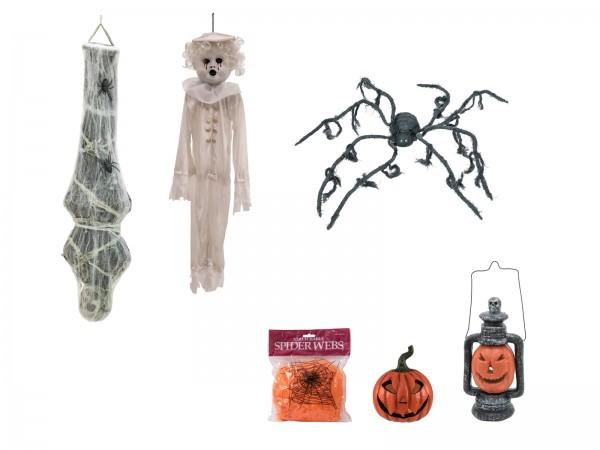 Halloween Set CLASSIC - 6-teiliges Komplettset für die Party - bewegte Spinne - LED Effekte