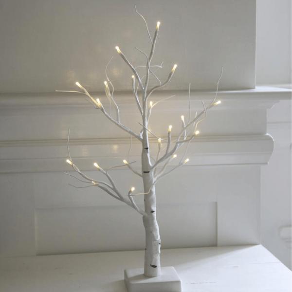 "LED-Dekobaum ""Tobby Tree"" - 20 warmweiße LED - H: 52cm - Batteriebetrieb - Timer - weiß"