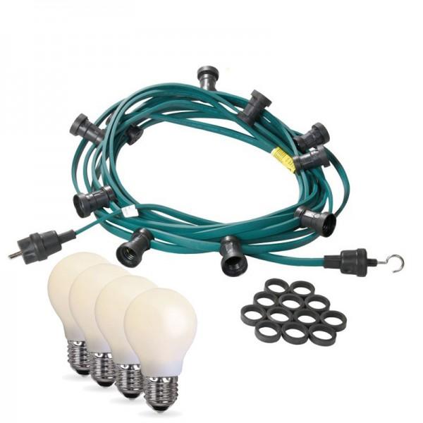 Illu-/Partylichterkette 20m | Außenlichterkette | Made in Germany | 20 x bruchfeste, opale LED Lampen