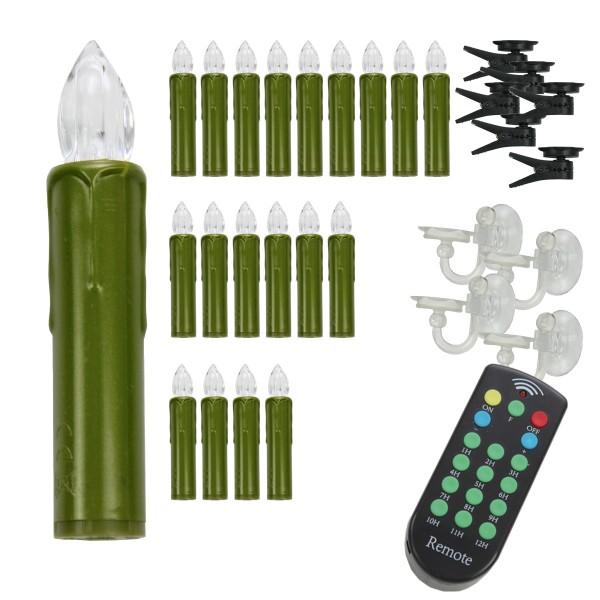 LED Baumkerzen - mit Fernbedienung - Timer - Flackerfunktion/Fest - kabellos grün - 20er Set
