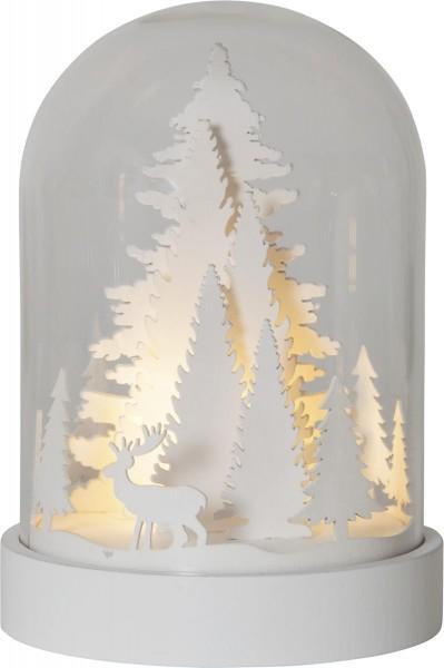 "Kuppelglas LED - ""Winterwald"", weiß - warmweiße LED - Timer - H: 17,5cm"