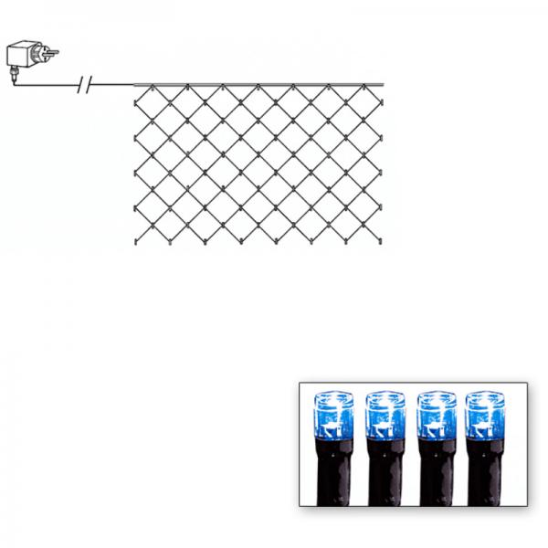 LED-Lichternetz | Serie LED | Outdoor | Schwarzes Kabel | 90 blaue LED | 1.00m x 2.00m