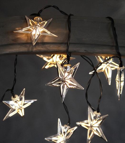 LED-Lichterkette - Star Line Indoor - Batteriebetrieb - Timer - 1,35m - 10x Warmweiß - Silber-Stern