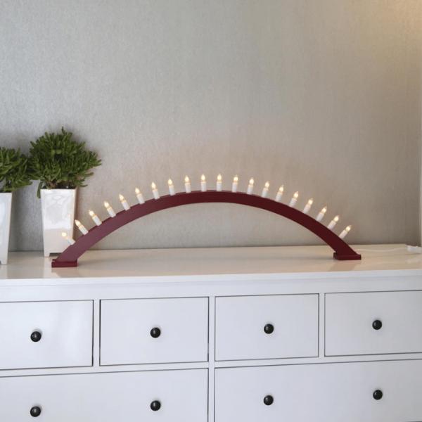"Leuchtbogen ""Kulle"" - 20flammig - Material: Holz - rot - L: 105cm, H: 31cm - Schalter"