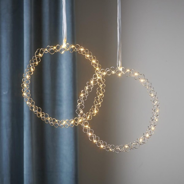 "LED Kranz ""Hoop"" - 30 warmweiße LED - D: 30cm - Material: Metall - Batteriebetrieb - Timer - gold"