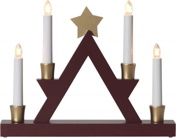 """Fensterleuchter """"Julle"""" mit Stern - 4flammig - warmweiße Glühlampen - H: 26cm - Rot/Gold"""