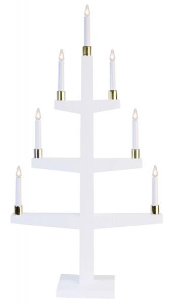 """LED-Kerzenleuchter """"Halla"""" - 7 Arme - warmweiße LEDs- H: 47cm, L: 90cm - Schalter - Weiß/Gold"""