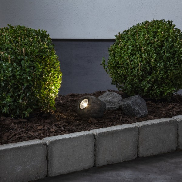 LED Solar Felsen ROCKY - Spot mit warmweißer LED - Dämmerungssensor - 15lm - H: 8cm
