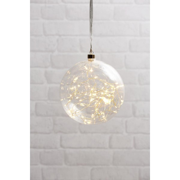 Glaskugel GLOW - klares Glas - 80 warmweiße LED am Draht - D: ca. 20cm - inkl. Trafo - 3m Kabel