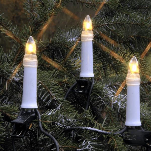 B-Ware LED Kerzenkette - 25 warmweiße Kerzen - Outdoor - Strang - E10 Fassung - H: 11,5cm, L: 16,8m