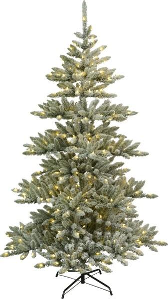 """Weihnachtsbaum""""Arvika"""" - 320 warmweiße LEDs - H: 210cm, D:130cm - grün - mit Schneedekor - Metallfuß"""