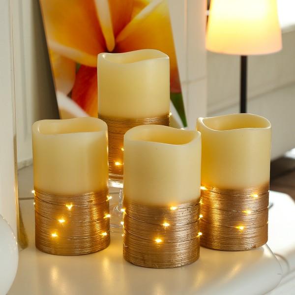 LED Kerzen - Echtwachs - mit Drahtlichterkette - flackernd - H: 12,5cm - creme/kupfer - 4 Stück