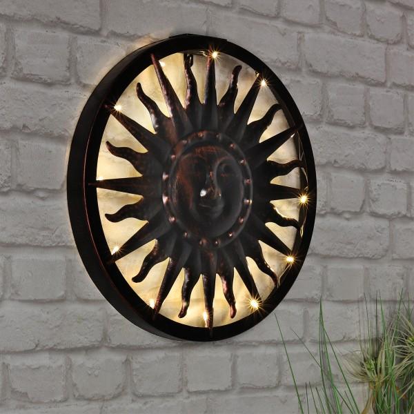 "LED Solar Wandlicht ""Sonne"" - 12 warmweiße LED - D: 40cm - Dämmerungssensor"