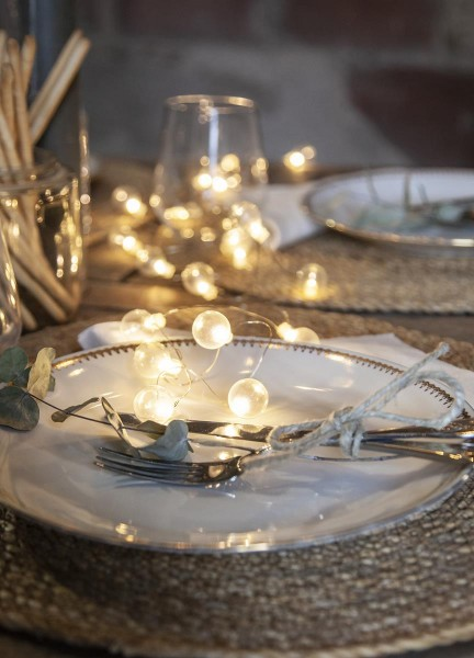 """LED-Lichterkette """"Mini Glow"""" - 20 kleine weiße Birnen - warmweiße LEDs - 1,6m - Batterie - Timer - outdoor"""