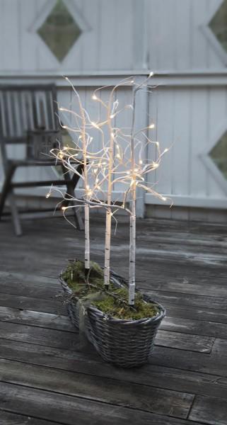 3er Set LED-Lichtbäume - 0,75cm - je 48x warmweiße LEDs - Farbe:weiss - ganzjährige Gartendekoration