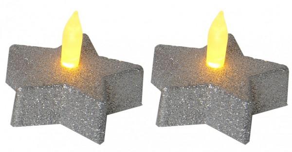 LED-Teelicht | Kunststoff | Shine | flackernde LED |→6cm | ↑5cm | 2er Set | Silber
