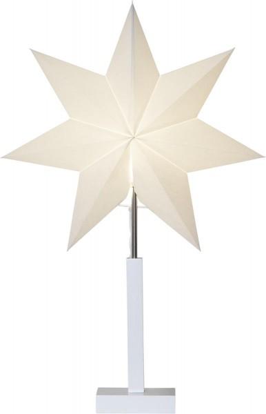 """Papierstern/Stehleuchte """"Karo"""" - stehend - 7-zackig - Ø 43cm, H: 70cm - E14 Fassung - weiß"""