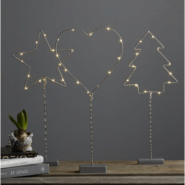 "LED Standleuchte ""Drahtbaum"" -12 warmeiße LEDs - H: 42cm - Metall - Batteriebetrieb - silber"