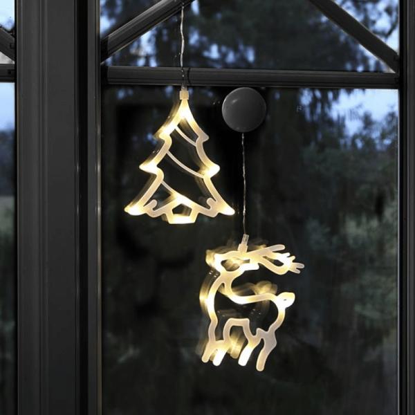 LED-Fensterdeko mit Saugnapf - Rentier und Tanne - 2er Set - je 8 warmweiße LED - Batterie