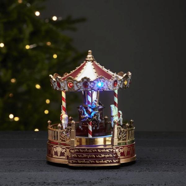 """LED-Weihnachtskarussell """"Kidsville"""" - mit Bewegung und Musik - 13 bunte LED - H: 22cm - Timer"""