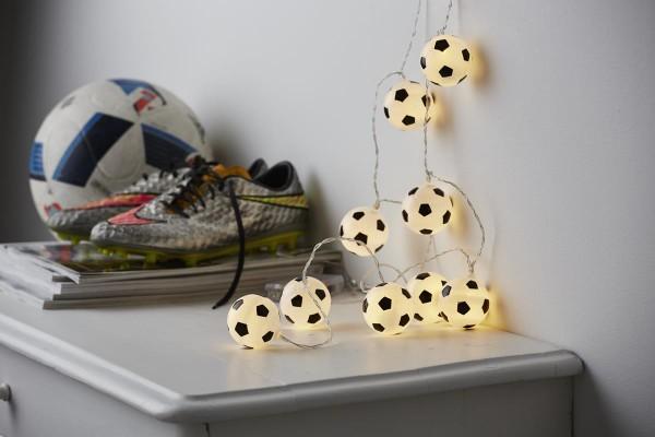 "LED-Lichterkette ""GOAL"" - 10 Fußbälle mit warmweißen LEDs - 1,35m - Batterie - Timer"