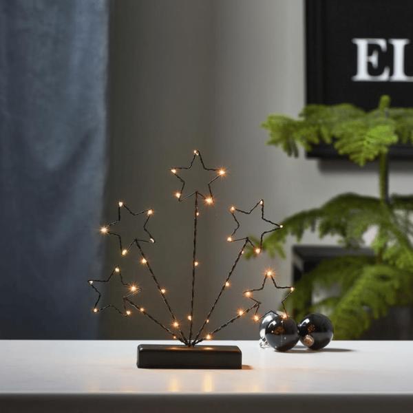 """LED-Drahtsterne """"Stary"""" - 38 warmweiße LEDs - H: 27,5cm - stehend - Batteriebetrieb - schwarz"""