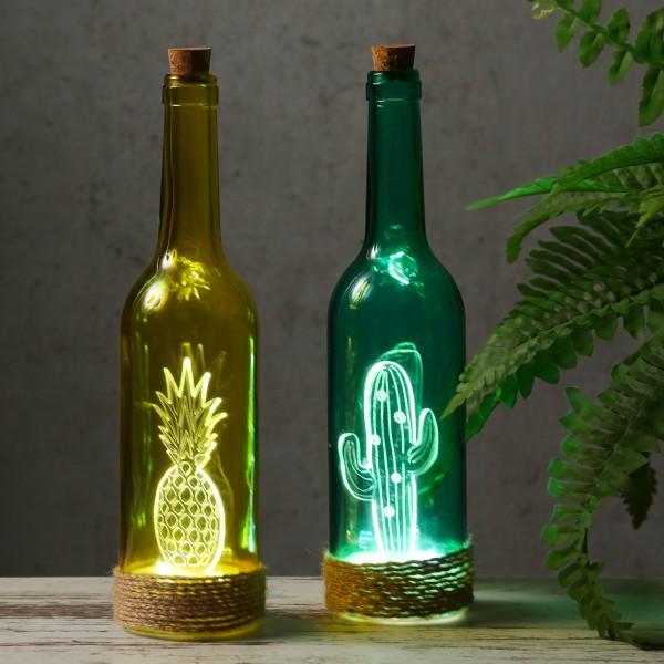 """Farbige Glasflasche """"Ananas"""" mit LED - Seil - Deko - am Flaschenboden mit 4 LED"""