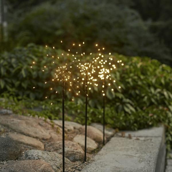 """LED Dekostäbe """"Firework"""" - H: 65cm - je 60 warmweiße LED - inkl. Trafo - outdoor - schwarz - 3er Set"""