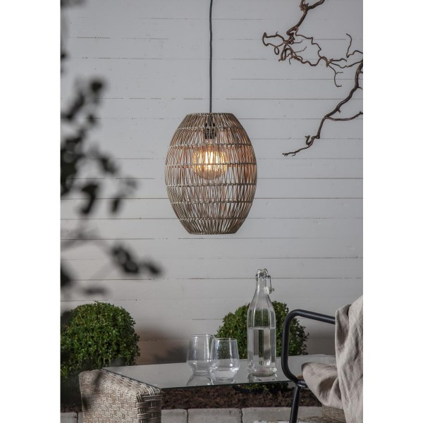 Dekoleuchte/Lampenschirm aus Rattan - D: 30cm, H: 40cm - für E27 Fassungen - outdoor - beige